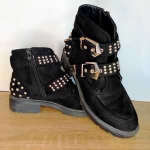 Missguided Black Gothic Steam Punk Stud Boots 6.5